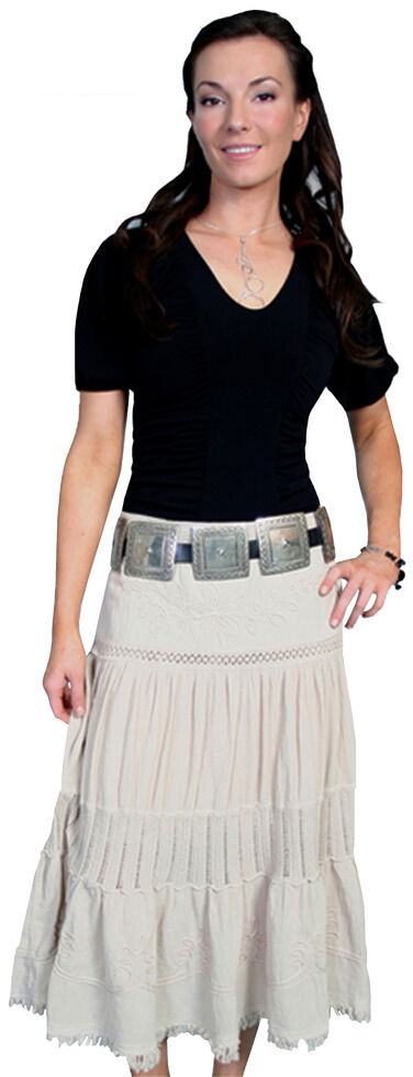 Scully Crocheted Panel Skirt, Khaki, hi-res