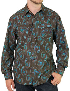 Moonshine Spirit Men's Copper Canyon Paisley Long Sleeve Western Shirt, Brown, hi-res