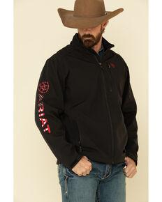 Ariat Men's Americana Flag Print Logo 2.0 Softshell Jacket , Black, hi-res