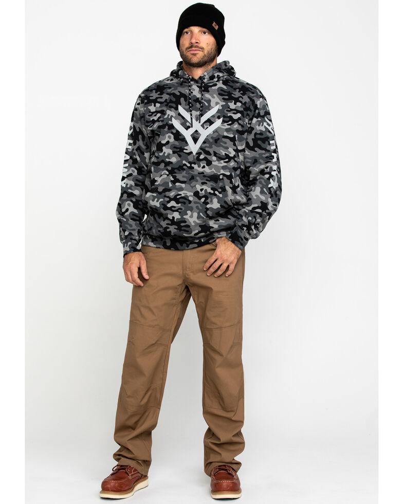 Hawx Men's Black Camo Reflective Logo Performance Hooded Work Sweatshirt , Black, hi-res