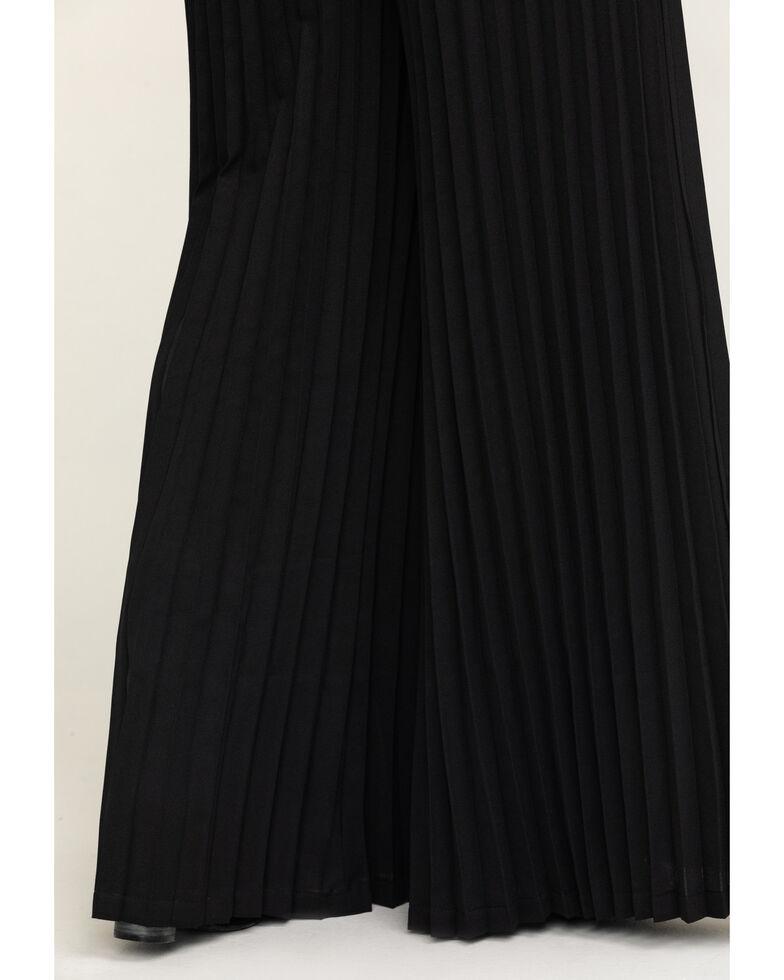 Flying Tomato Women's Black Accordion Pleat High Waist Pants, Black, hi-res