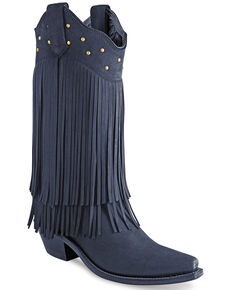 Old West Women's Black Fringe Western Boots - Snip Toe, Black, hi-res