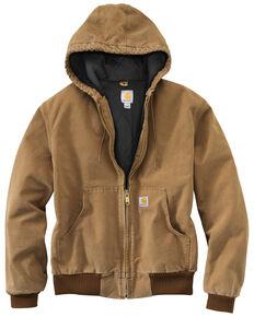 Carhartt Men's Quilted Flannel Lined Duck Active Work Jacket, Brown, hi-res