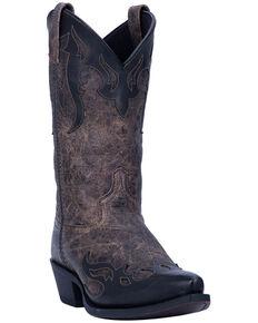 Laredo Men's Shadow Western Boots - Snip Toe, Black/tan, hi-res