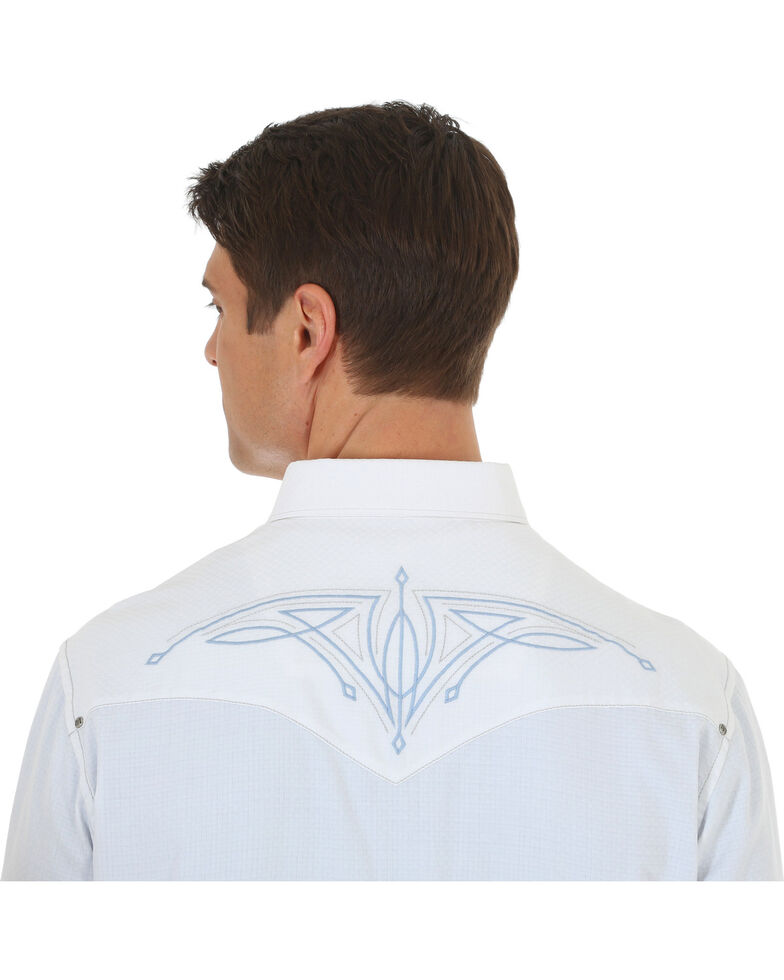 Rock 47 by Wrangler Men's White Embroidered Long Sleeve Snap Shirt, White, hi-res