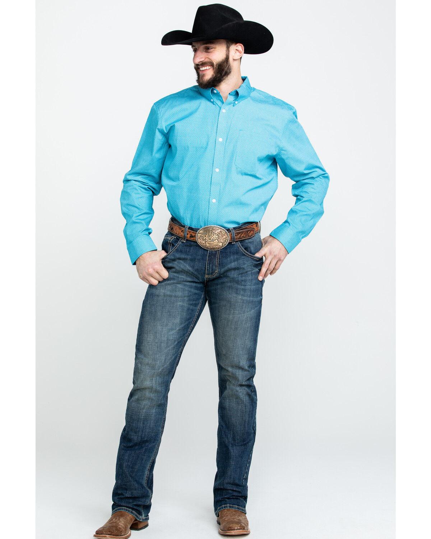 Ccsu19w50 Cody James Mens Core Blurred Vision Geo Print Long Sleeve Western Shirt