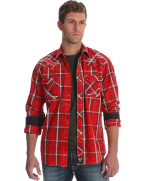 Wrangler Rock 47 Men's Red Embroidered Yoke Plaid Shirt , Red, hi-res