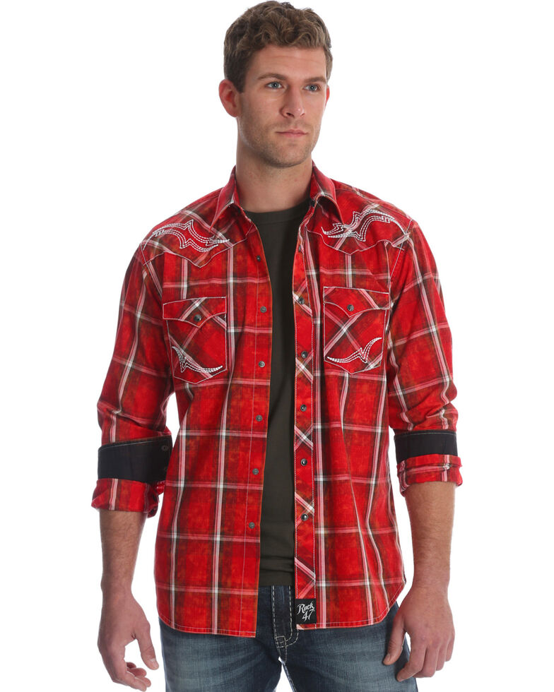 Rock 47 by Wrangler Men's Red Embroidered Yoke Plaid Shirt , Red, hi-res