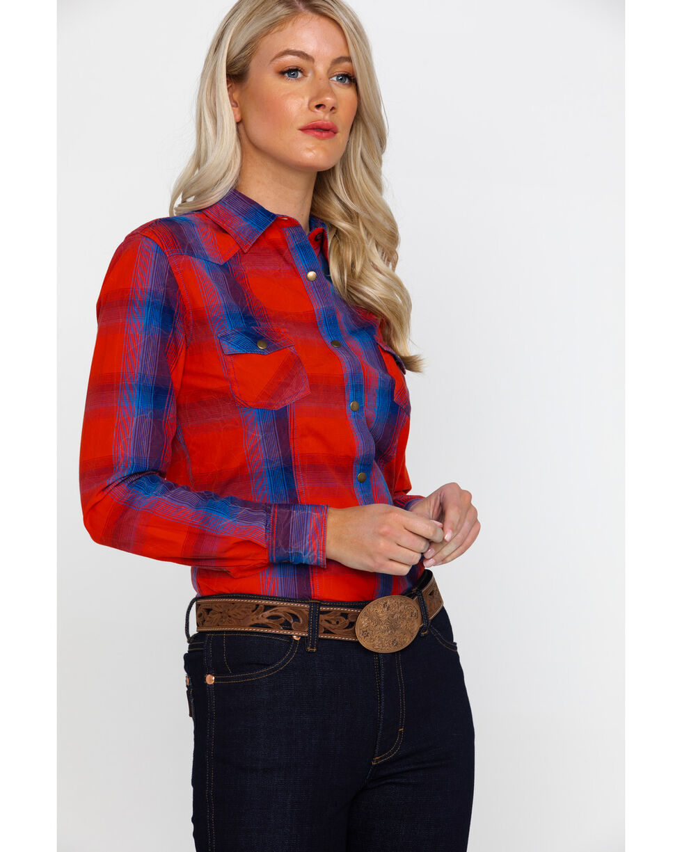 White Label by Panhandle Women's Americano Plaid Long Sleeve Western Shirt , Red, hi-res