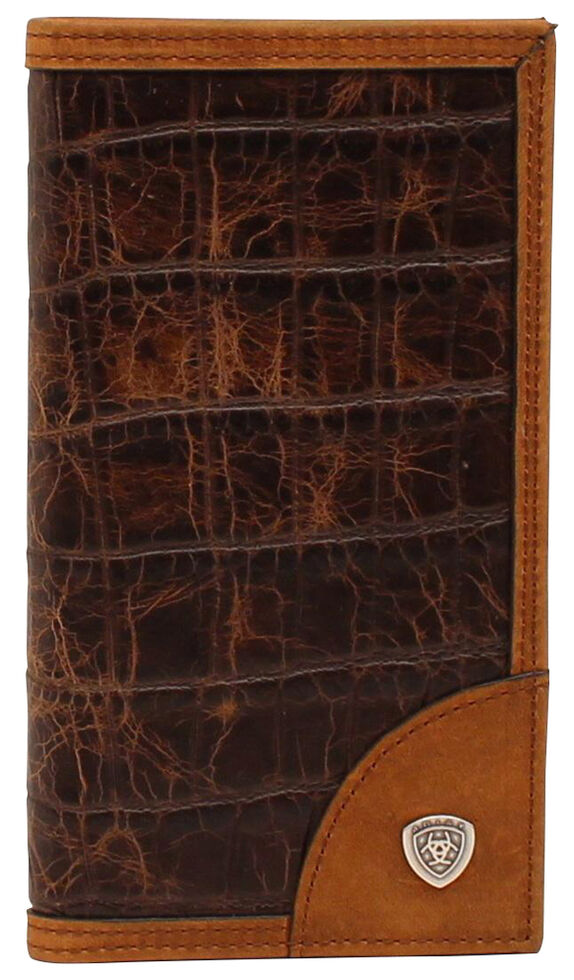 Ariat Croc Print Shield Rodeo Wallet, Brown, hi-res