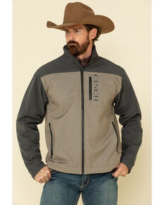 Cinch Men's Grey Color Blocked Logo Bonded Jacket - Big , Grey, hi-res