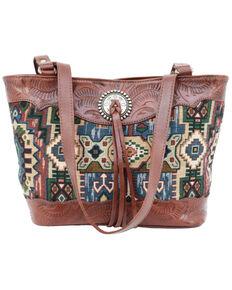 American West Women's Bella Beau Hang Woven Tapestry Tote Bag, Brown, hi-res