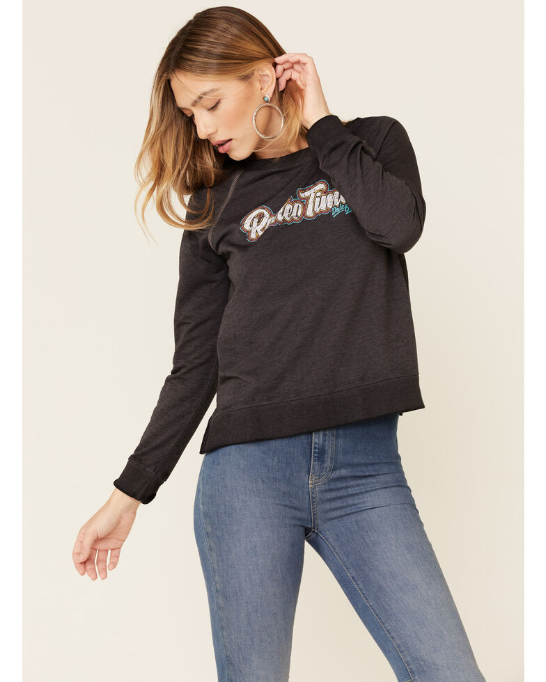 Dale Brisby Women's Charcoal Rodeo Time Graphic Long Sleeve Top , Charcoal, hi-res