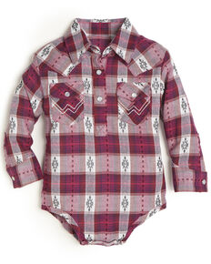 Wrangler Infant Girls' Pink Plaid Long Sleeve Onesie, Pink, hi-res