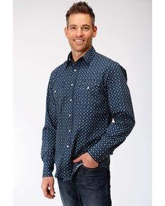 Roper Men's West Made Web Geo Print Long Sleeve Western Shirt , Blue, hi-res