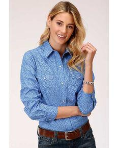 Amarillo Women's Blue Paisley Long Sleeve Snap Western Shirt , Blue, hi-res