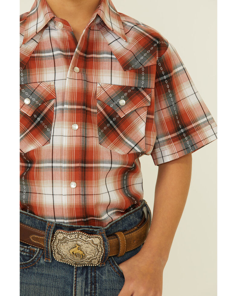 Ely Walker Boys' Rust Dobby Plaid Short Sleeve Snap Western Shirt , Rust Copper, hi-res