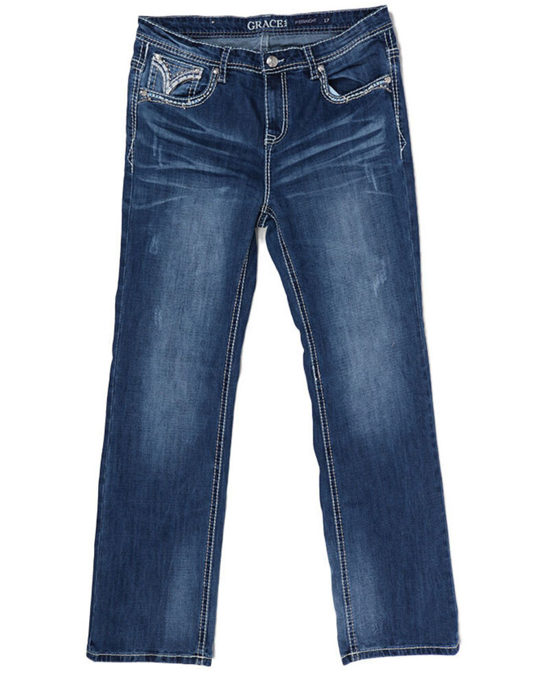Grace in LA Women's Easy Boot Jeans - Plus, Blue, hi-res