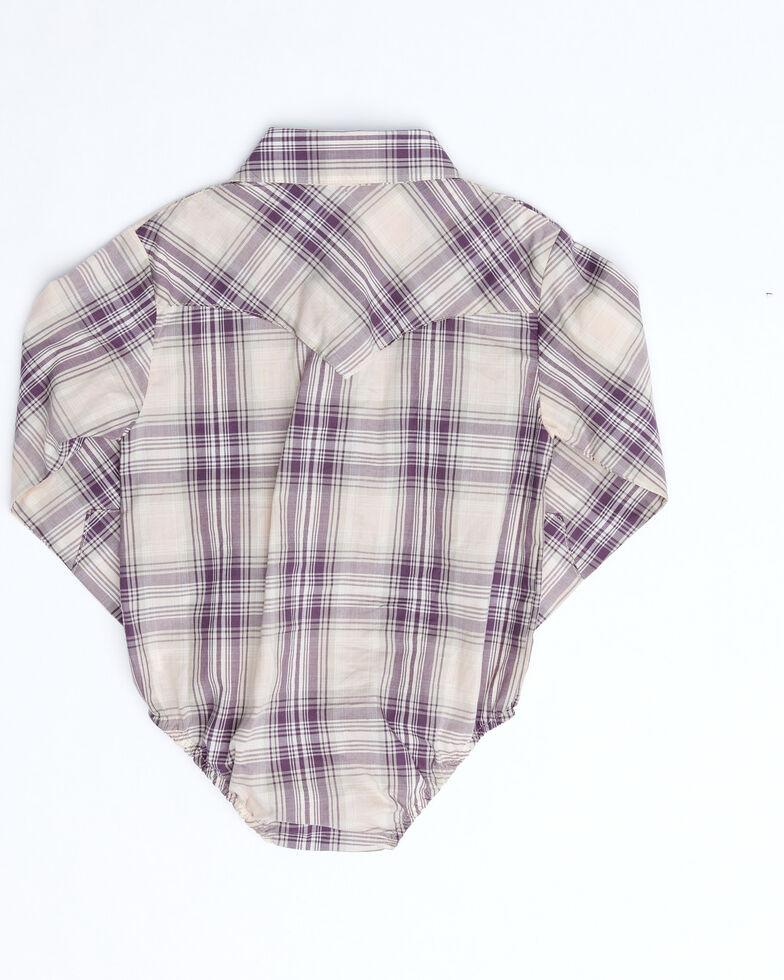 Wrangler Infant Girls' Purple Plaid Long Sleeve Western Onesie , Purple, hi-res
