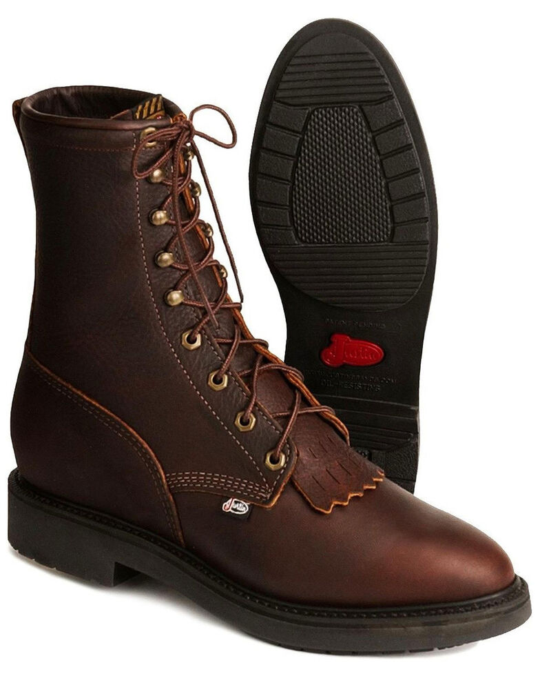 """Justin Men's Conductor 8"""" Lace-Up Work Boots - Soft Toe, Rust Copper, hi-res"""