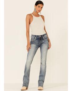 Grace in LA Women's Border Faux Flap Bootcut Jeans, Blue, hi-res