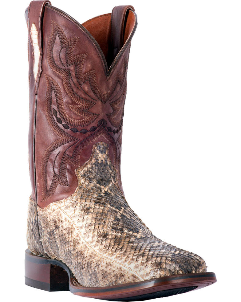 Dan Post Men's Natural Poison Rattlesnake Boots - Square Toe , Natural, hi-res