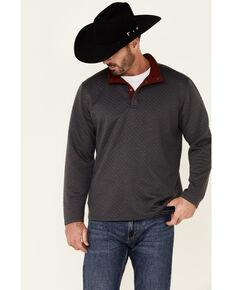 North River Men's Solid Grey Jacquard 1/4 Snap Pullover , Black, hi-res