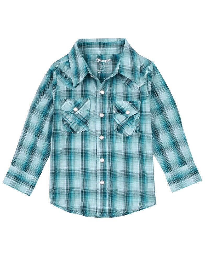 Wrangler Infant-Toddler Boys' Turquoise Plaid Long Sleeve Snap Western Shirt , Turquoise, hi-res