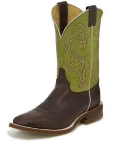 Justin Men's Bender Cocoa Western Boots - Wide Square Toe, Dark Brown, hi-res