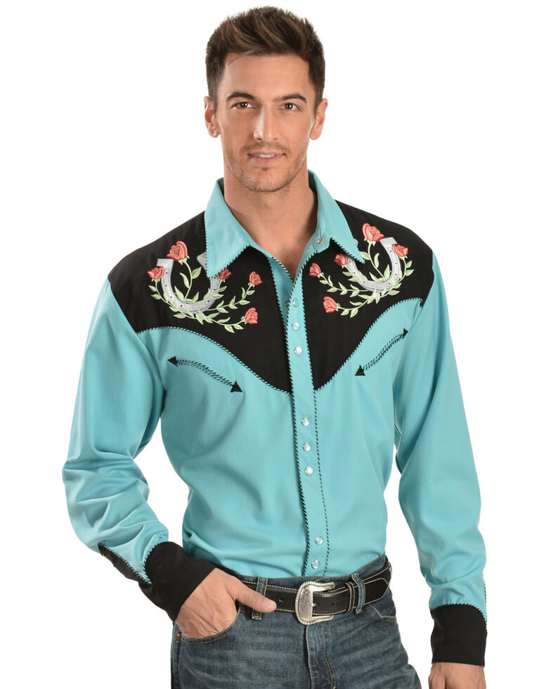 Scully Men's Rose & Horseshoe Embroidered Retro Long Sleeve Western Shirt, Turquoise, hi-res
