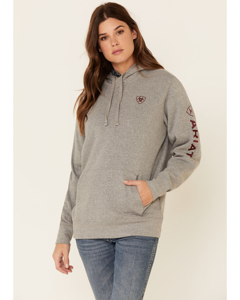 Ariat Women's Heather Grey Embroidered Logo Sleeve Hooded Sweatshirt , Heather Grey, hi-res