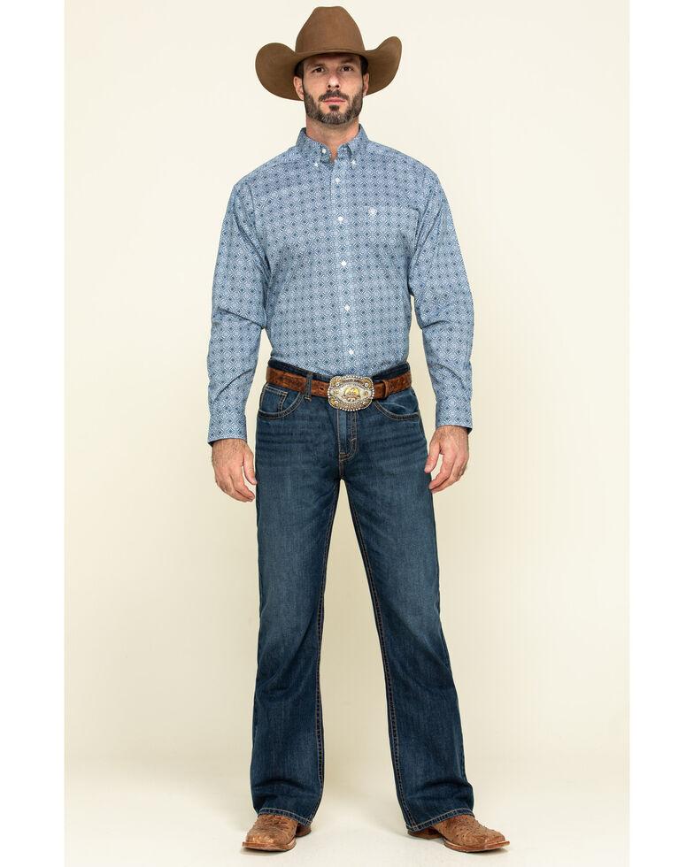 Ariat Men's Rutherford Stretch Geo Print Short Sleeve Western Shirt - Tall , Navy, hi-res