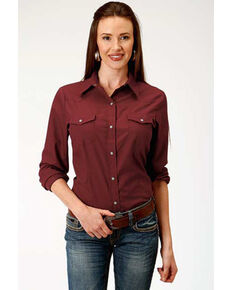 Karman Women's Solid Long Sleeve Western Shirt , Wine, hi-res