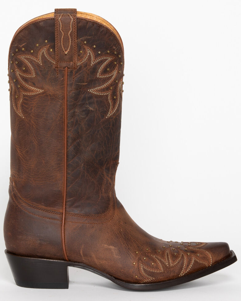 Shyanne Studded Wing Tip Cowgirl Boots - Snip Toe, Brown, hi-res