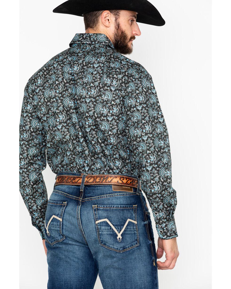 Rough Stock By Panhandle Floral Print Long Sleeve Western Shirt , Black, hi-res