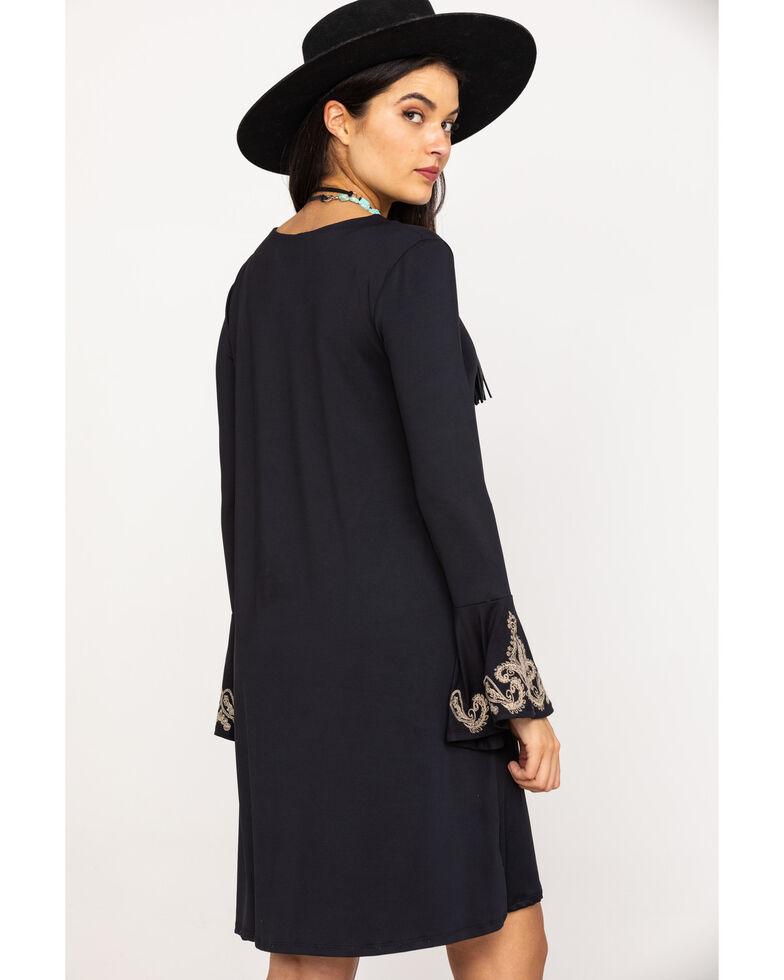 Roper Women's Black Knit Embroidered Bell Sleeve Dress, Black, hi-res
