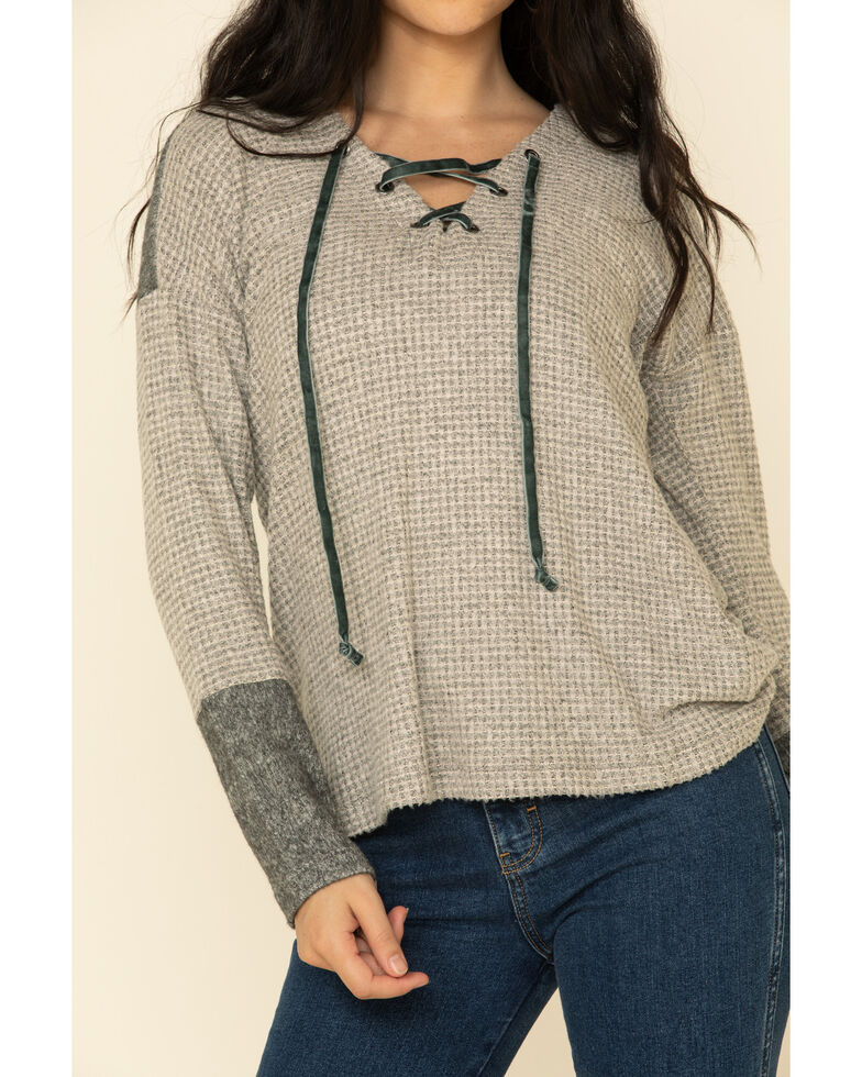 Mystree Women's Grey Waffle Knit Lace Up Neck Top , Grey, hi-res