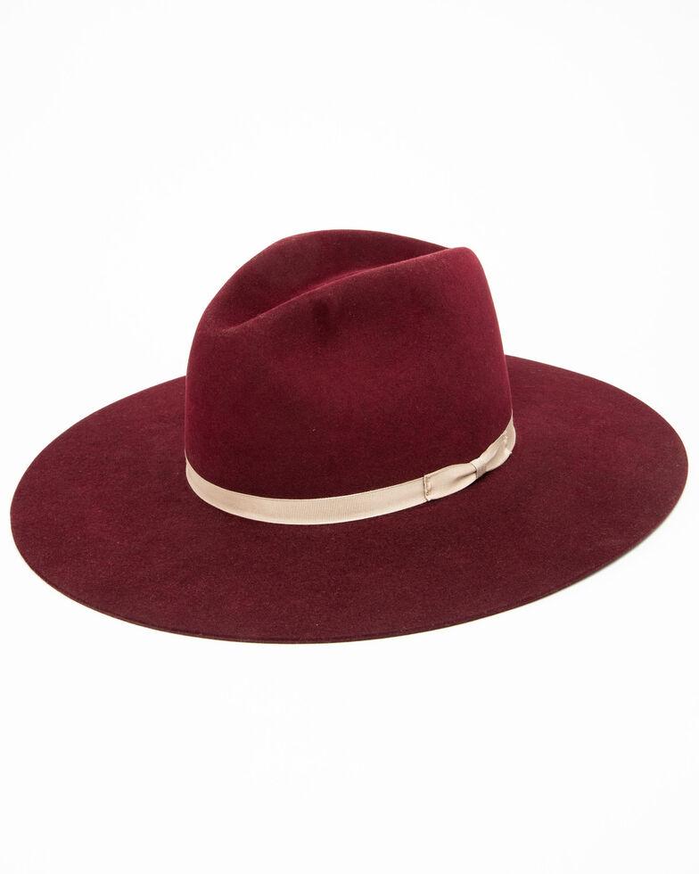 Rodeo King Women's 7X Tracker Pinch Front Fur Felt Hat , Wine, hi-res