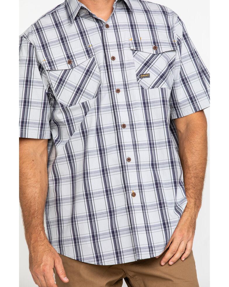 Ariat Men's Grey Plaid Rebar Made Tough Short Sleeve Work Shirt, Dark Grey, hi-res