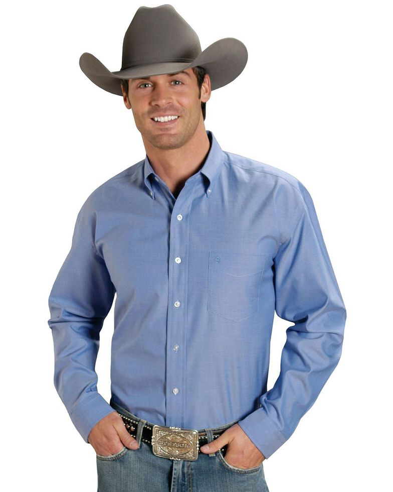 Stetson Men's Solid Button Oxford Long Sleeve Western Shirt, Blue, hi-res