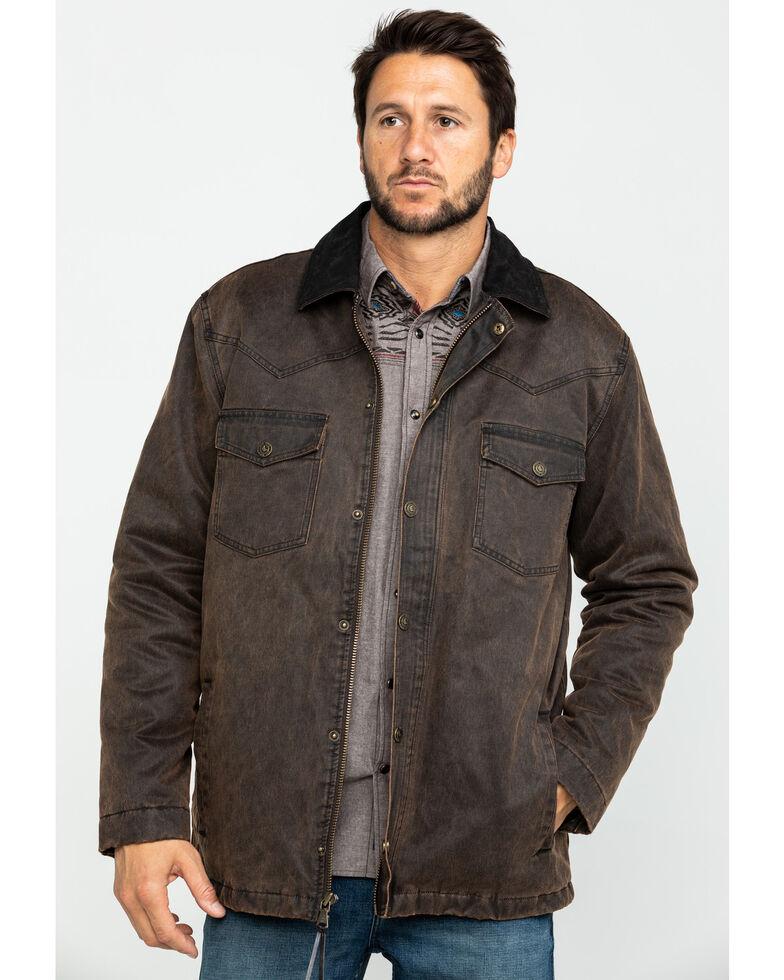 Cody James Men's Westward Oil Skin Field Coat , Brown, hi-res