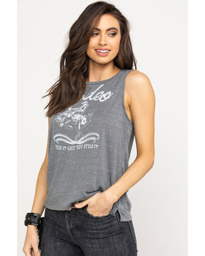 Rock & Roll Cowgirl Women's Charcoal Rodeo Lace Back Tank Top, Charcoal, hi-res