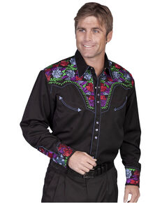 Scully Men's Vibrant Floral Embroidered Retro Long Sleeve Western Shirt, Black, hi-res