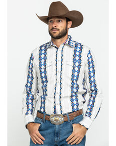 Wrangler Retro Men's Blue Striped Geo Print Long Sleeve Western Shirt , Blue, hi-res