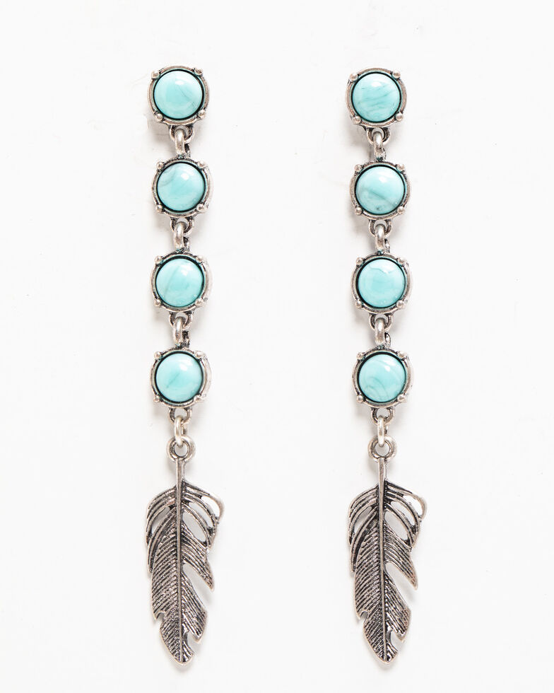 Shyanne Women's Autumn Linear Feather Charm Earring , Silver, hi-res