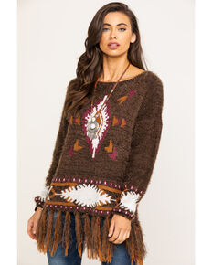 Powder River Outfitters Women's Brown Aztec Fringe Eyelash Sweater, Brown, hi-res