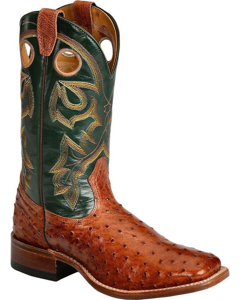 Boulet Men's Full Quill Ostrich Cowboy Boots - Wide Square Toe, Brandy, hi-res