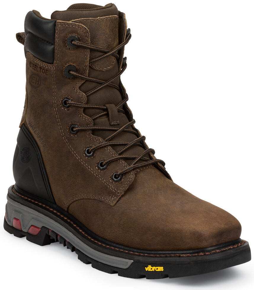 "Justin Men's Pipefitter Tobacco EH Waterproof 8"" Work Boots - Steel Toe, Timber, hi-res"