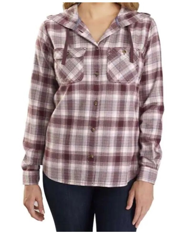 Carhartt Women's Flannel Hooded Plaid Long Sleeve Work Shirt , Wine, hi-res