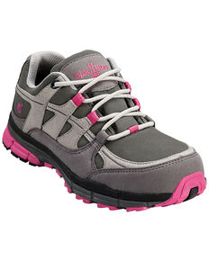 Nautilus Women's Pink & Grey Lightweight ESD Athletic Work Shoes - Steel Toe , Grey, hi-res